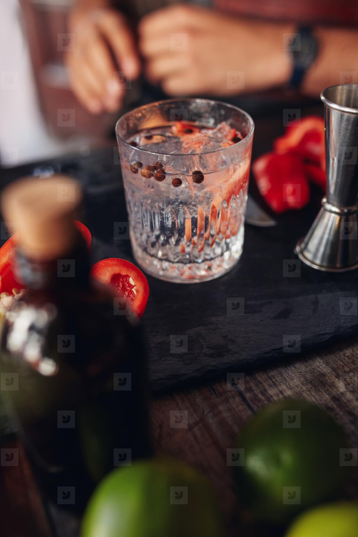Freshly prepared cocktail