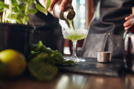 Classic modern basil smash cocktail