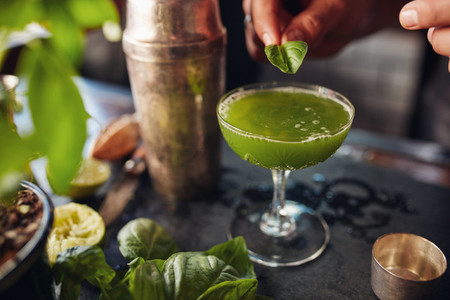 Barman preparing basil smash cocktail