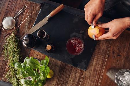 Garnishing grapefruit cocktail