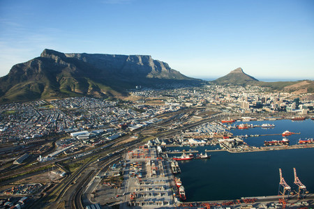 Cape Town Harbour and Table Mountain  South Africa