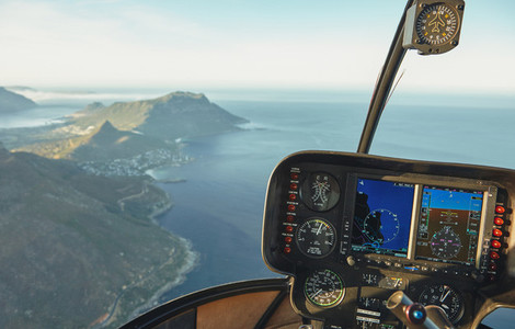 Aerial view of Cape town from a helicopter cockpit
