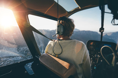 Helicopter passenger admiring the view
