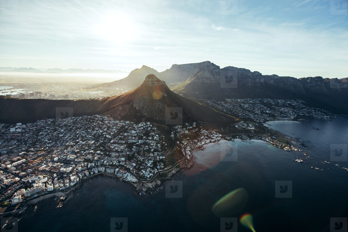 Aerial view of cape town city with devil s peak