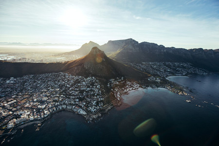Aerial view of cape town city with devil039 s peak