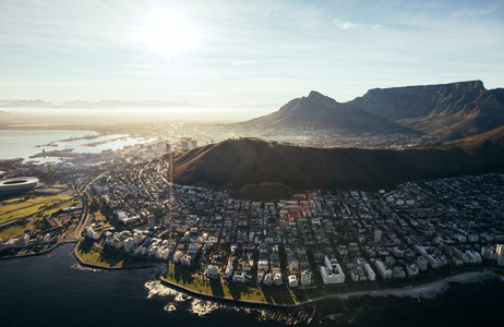 Birds eye view of city of cape town with buildings