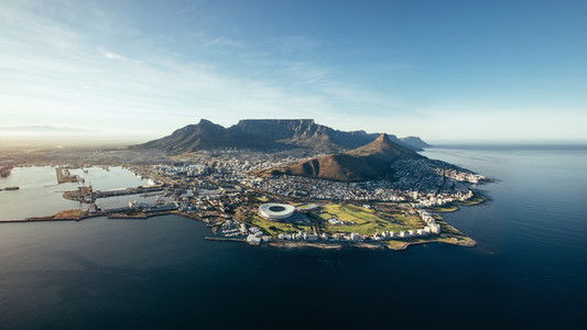 Aerial coastal view of Cape Town  South Africa
