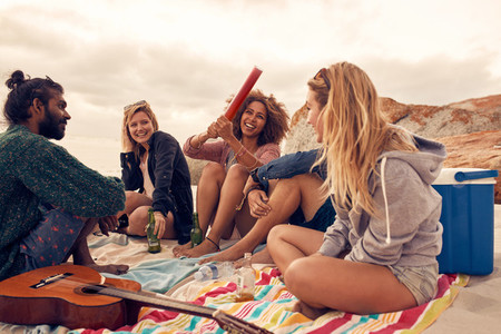 Group of friends having a beach party
