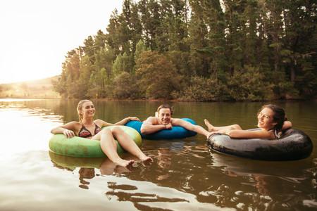 Friends enjoying a holiday at the lake