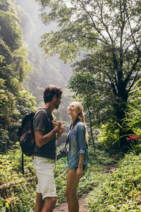 Romantic young couple on hike