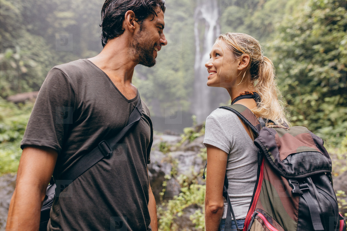 Romantic young couple together on hike