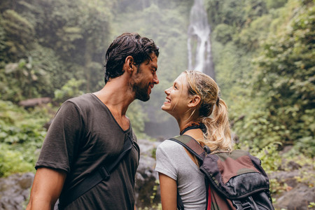 Affectionate young couple together on hike
