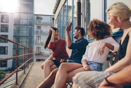 Young people enjoying in terrace