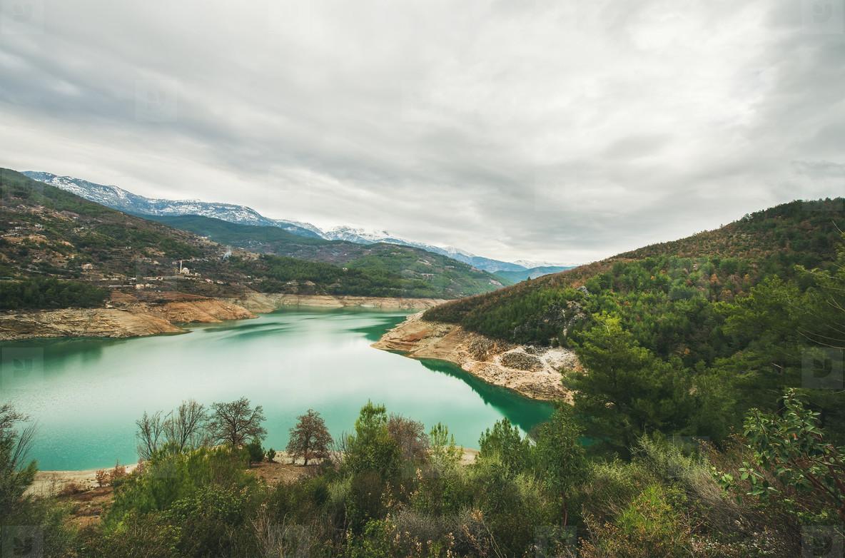 Storage pond on Dim Cay river in mountain area  Turkey
