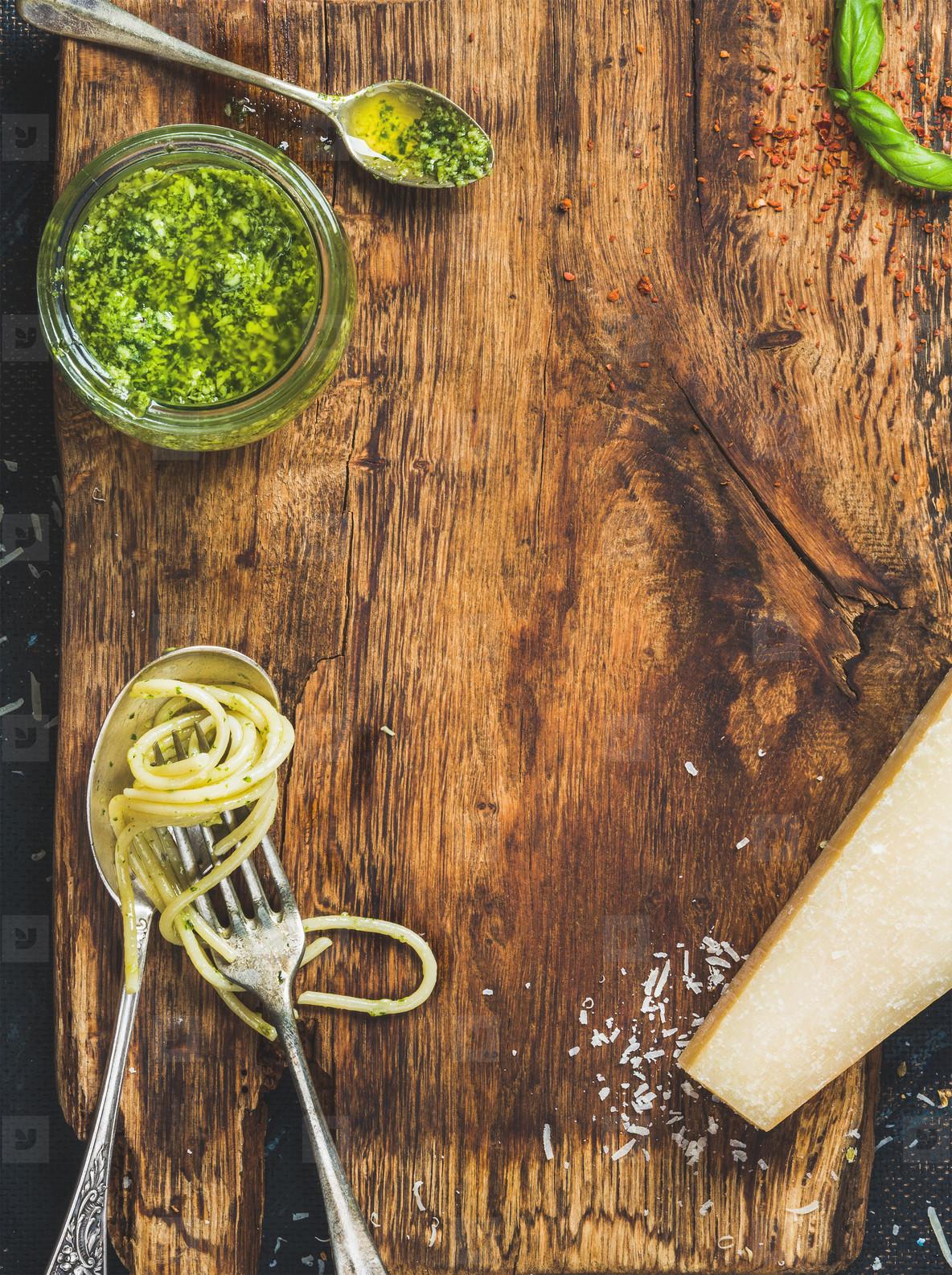 Italian cuisine cooking background  rustic wooden board texture