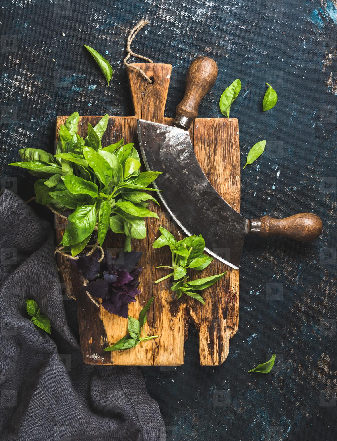 Fresh green and purple basil leaves with herb chopper knife