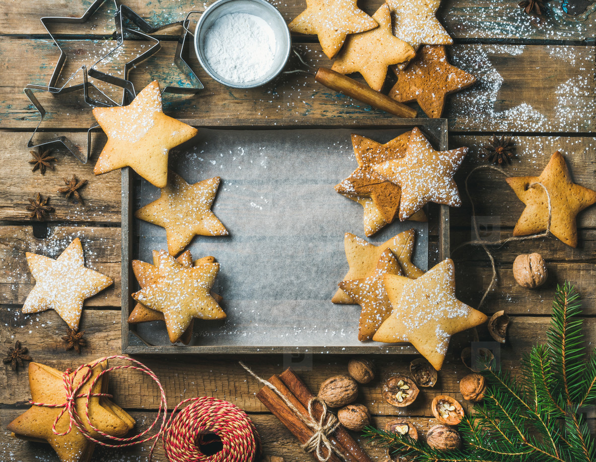 Christmas background with wooden tray in center  copy space