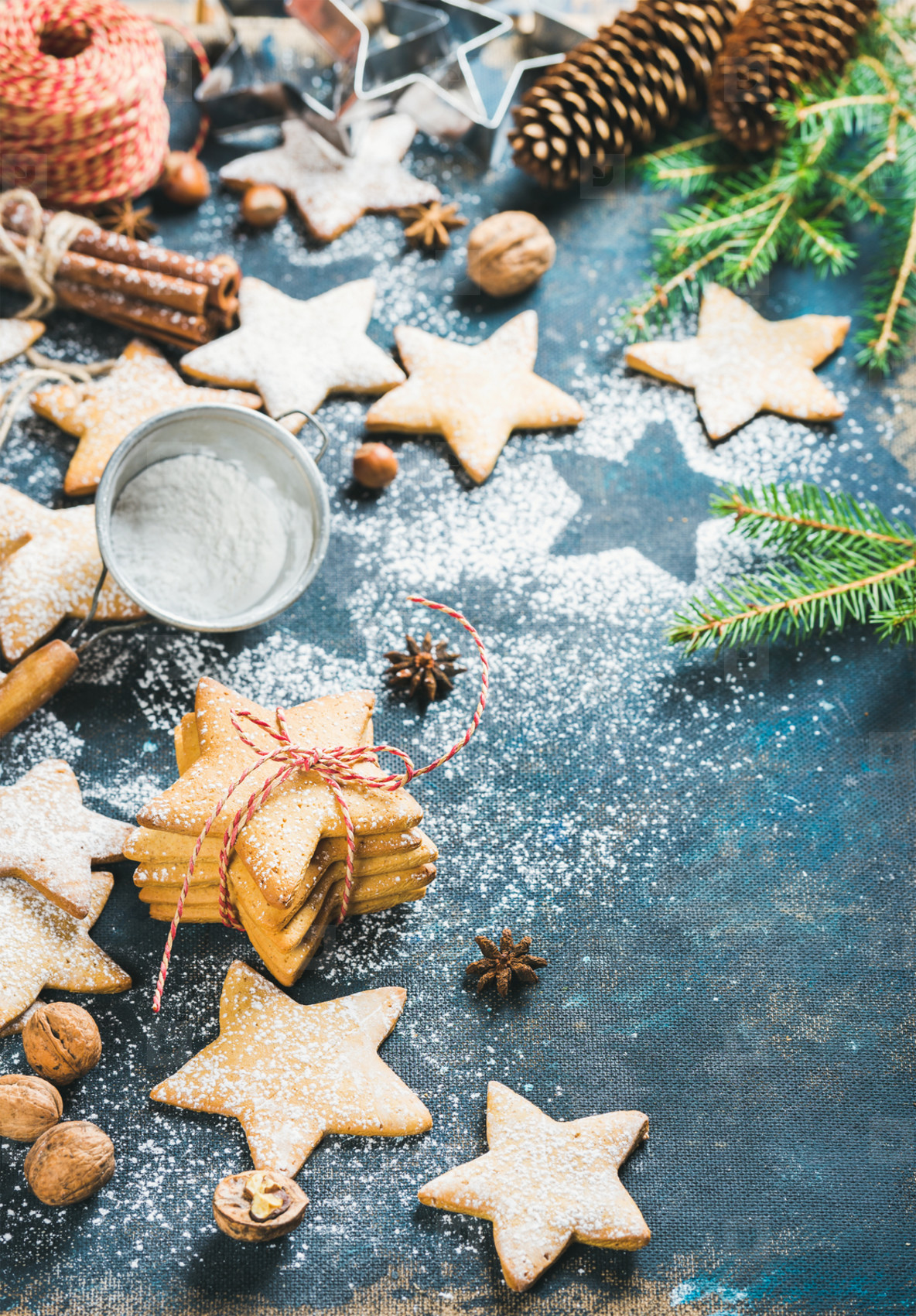 Christmas star shaped cookies with cinnamon  anise and nuts