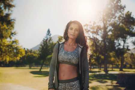 Woman in sportswear at the park