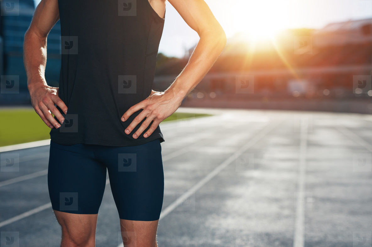 Runner on athletics running track