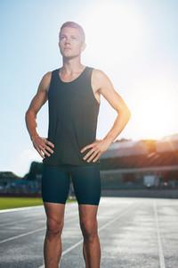 Male athlete preparing for a run