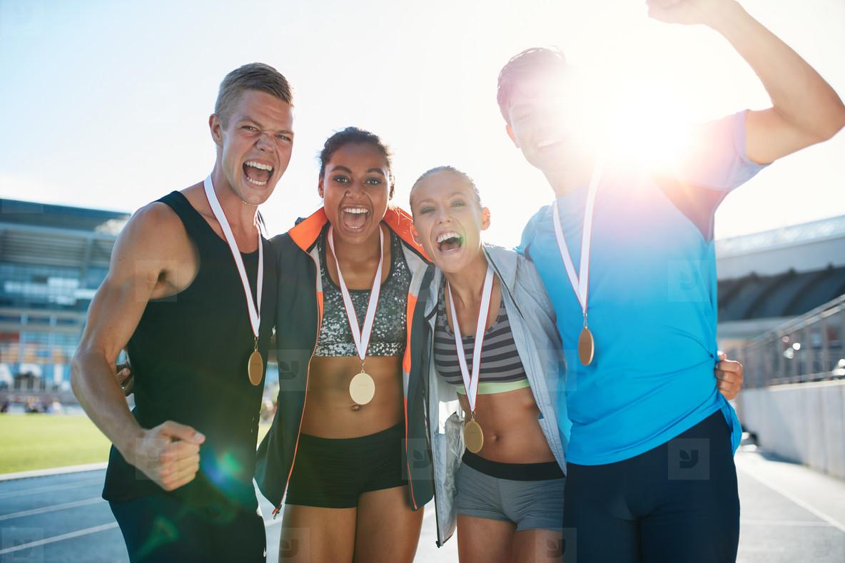 Group of athlete celebrating victory