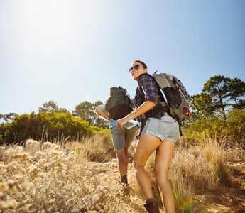 Young couple on hiking trip