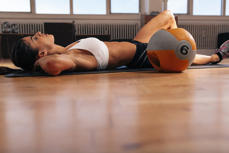 Female resting after intense workout