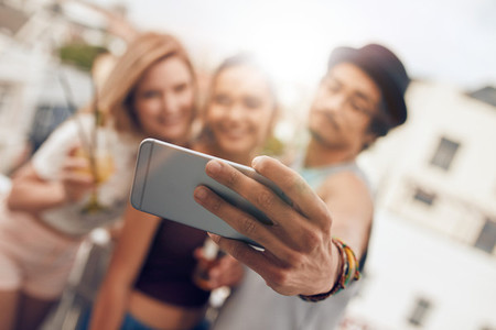 Selfie during rooftop party