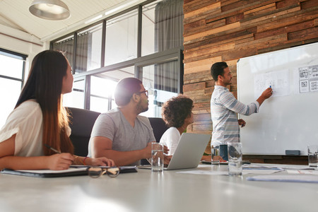 Businessman giving creative presentation to his colleagues
