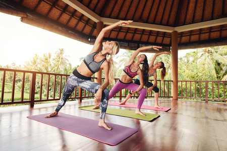 Healthy group of female exercising at yoga class