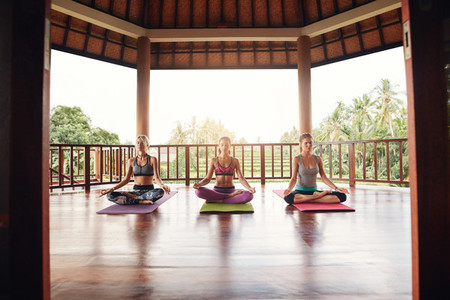 Group of women meditating in yoga class
