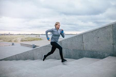 Runner running on stairs