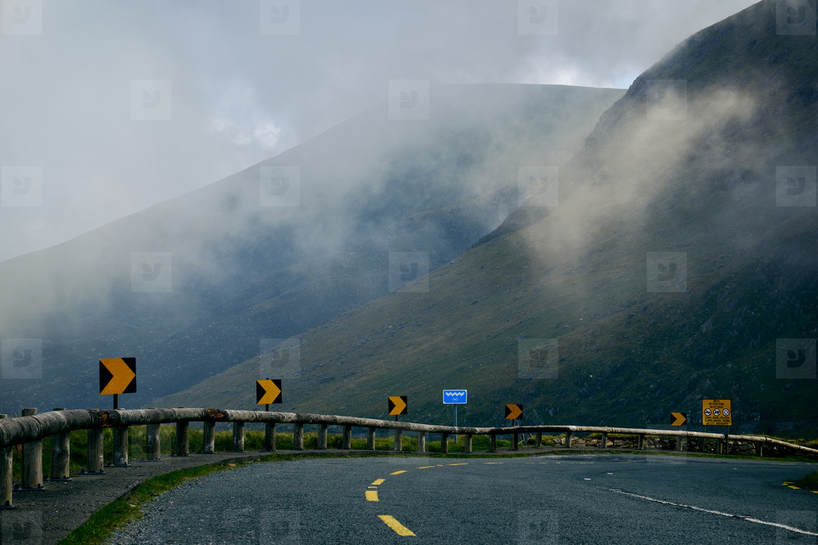 Fog over a mountain street