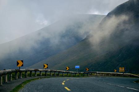 Fog over a mountain street