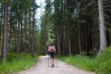 Woman hiking into the forest