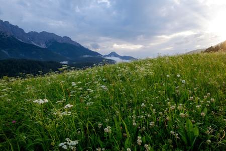 Rainy sunset on the Alps
