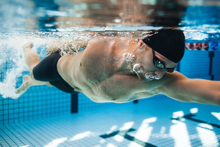 Professional male swimmer swimming in pool