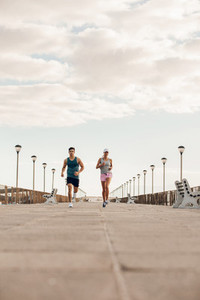 Young couple on morning run