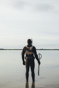 Diver ready for underwater fishing