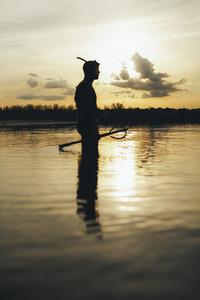 Spear fisherman going for underwater fishing