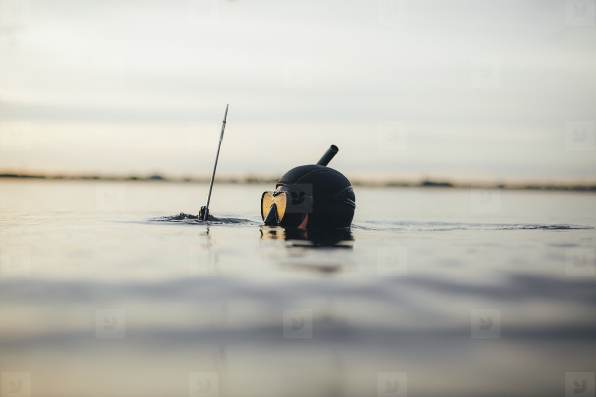 Underwater hunter immersed in water to hunt