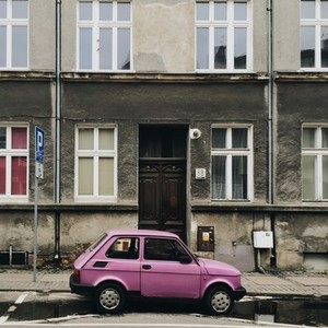 Old pink Fiat 126P car  Poland
