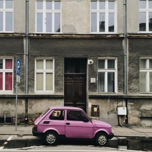 Old pink Fiat 126P car  Poland