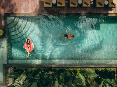 Couple enjoying holidays at luxury resort
