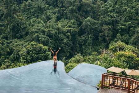 Woman enjoying vacation at luxury resort
