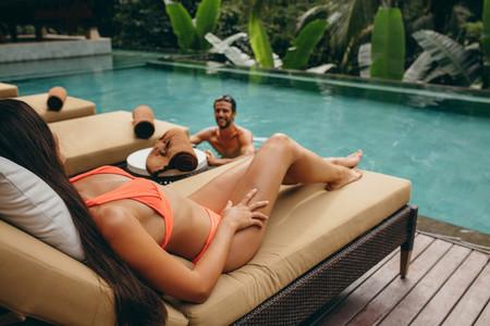 Couple enjoying at holiday resort