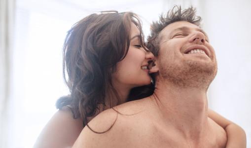 Beautiful young couple enjoying sensual foreplay