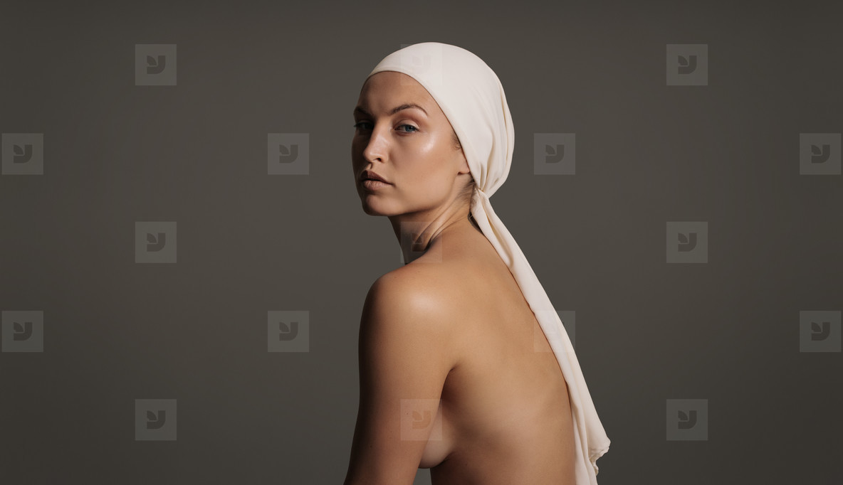 Female model with clean and healthy skin