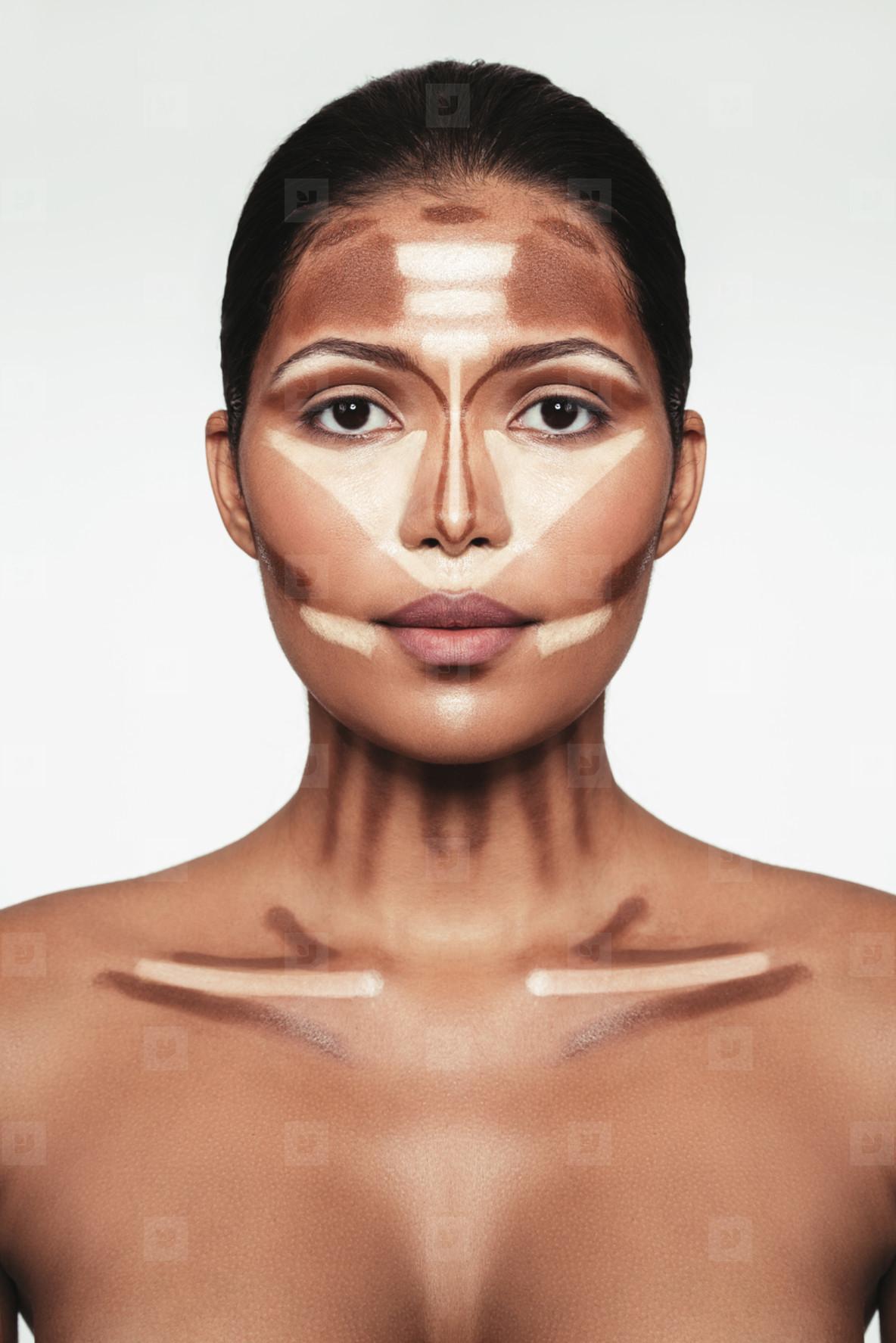 Professional contouring face makeup technique